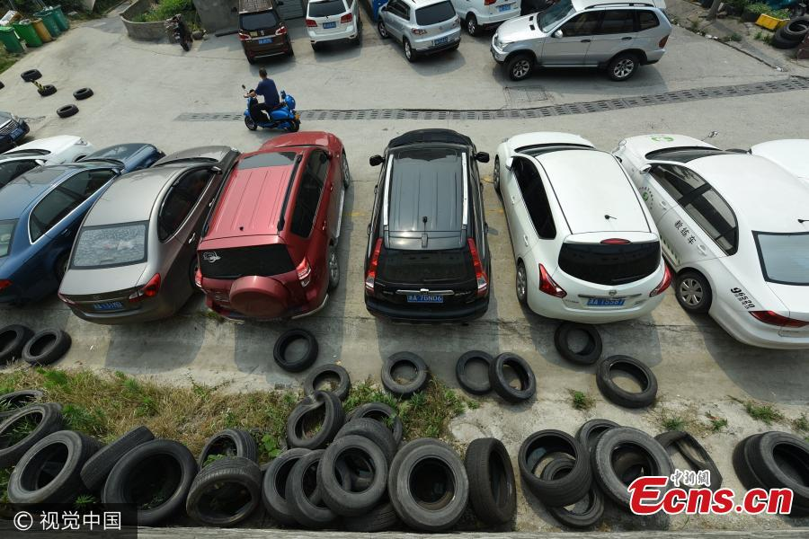 Tyres used to occupy parking spaces